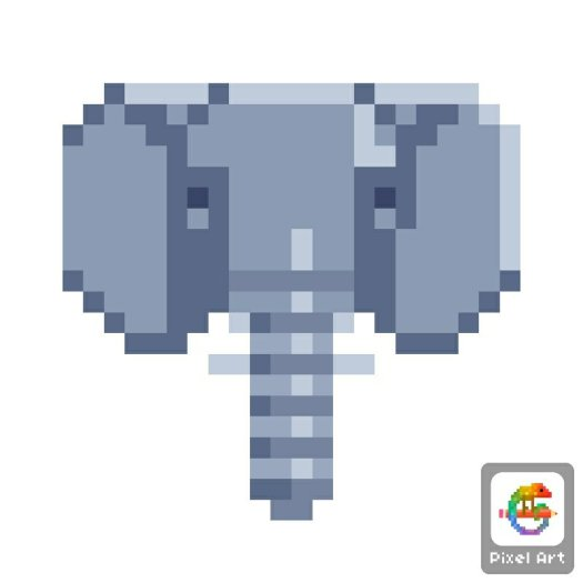 Pixel Art Colour By Numbers Elephant Wintergirl